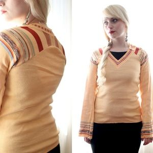 Vintage 1970s retro peach orange knitted sweater